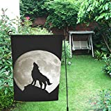 InterestPrint Happy More Custom - Bandera doble de jardín con diseño de lobo y luna, 30,5 x...