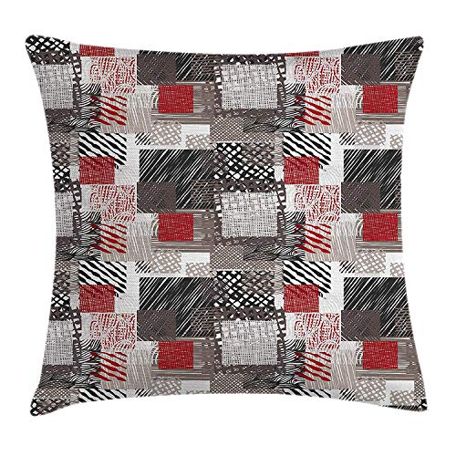 Stripe Silk Boys Band (Peach Flower Modern Throw Pillow Cushion Cover, Patchwork Style Bunch of Mixed with Squares Stripes Bands Artwork, Decorative Square Accent Pillow Case, 16 X 16 Inches, Charcoal Grey Black White)