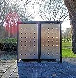 BBT@ | Premium Mülltonnenboxen für 2 Tonnen je 120 Liter Grau / Front-Edelstahl/ Vollverzinkte Bleche hochwertig pulverbeschichtet / Fronttür Edelstahl