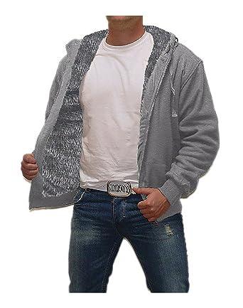 Sweatshirt jacke mit teddyfutter herren
