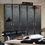 E-combuy Möbel 225 cm Kleiderschrank Industrial Design (Industrie Optik) Drehtürenschrank Schlafzimmerschrank Höhe 223 cm, 5-türig
