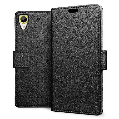 SLEO HTC Desire 650 Hülle – Premium Luxuriös PU lederhülle [Vollständigen Schutz] [Kreditkartenfach] Flip Brieftasche Schutzhülle im Bookstyle für HTC Desire 650 - Schwarz
