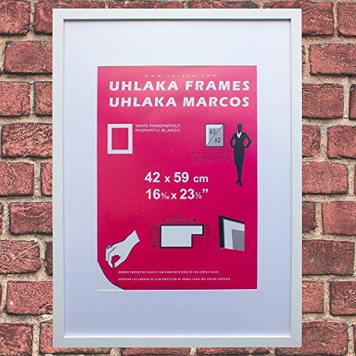 Marco blanco Uhlaka A2 + paspartú blanco para fotos y láminas A3
