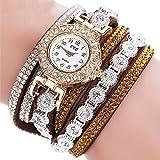 Armbanduhr, erthome Frauen Mode Lässig Analog Quarz Damen Strass Uhr Armbanduhr Muttertag Geschenk (Braun)