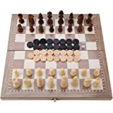 """Chess Set, 12""""x12"""" Wooden 3-in-1 Chess & Checkers & Backgammon Folding Board Portable Travel Tabletop Chess Game Toy Set"""