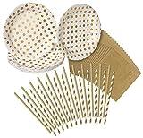 Party Set - 24 Tupfen Teller, 24 Gold Servietten, 24 Papier Trinkhalme - von Haute Soiree