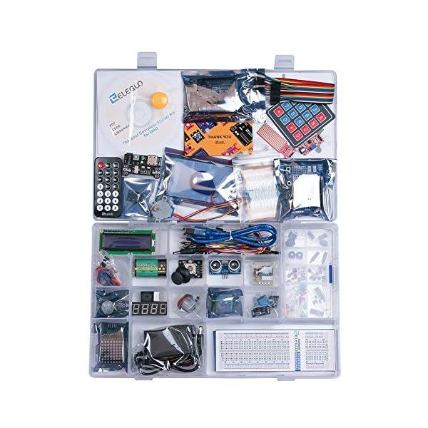 61mK1GqoIdL. SS600  - Elegoo Conjunto Avanzado de Iniciación a Arduino UNO con Guías Tutorial en Español y Conjunto de Arduino UNO R3, a Demás de Relé de 5V, Modulo de Fuente de Alimentación,Pantalla LCD1602, Servomotor, Motor Paso a Paso, Placa de Desarrollo de Prototipos, etc.