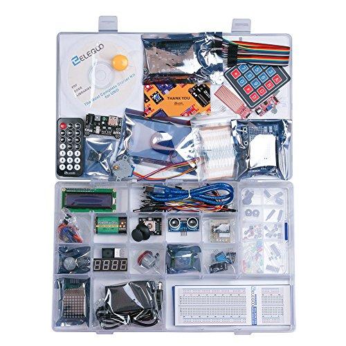 61mK1GqoIdL - Elegoo Conjunto Avanzado de Iniciación a Arduino UNO con Guías Tutorial en Español y Conjunto de Arduino UNO R3, a Demás de Relé de 5V, Modulo de Fuente de Alimentación,Pantalla LCD1602, Servomotor, Motor Paso a Paso, Placa de Desarrollo de Prototipos, etc.