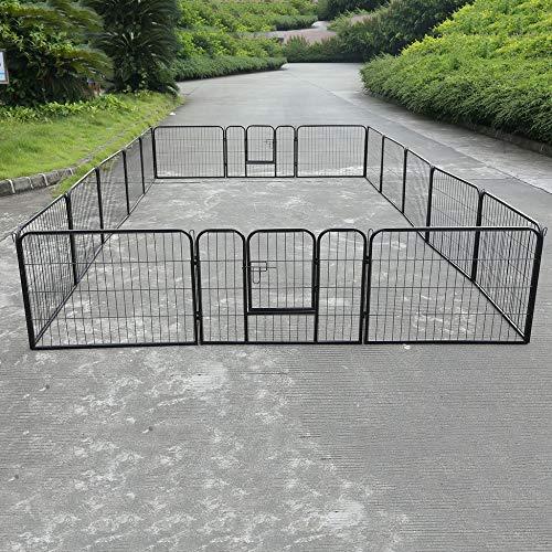 16 pannello gabbia per animali domestici box recinto per esercizi per cani cortile grande canile cortile per animali all'aperto gabbia da corsa box acciaio forniture per animali domestici nero
