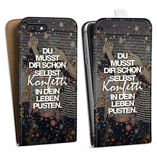Apple iPhone SE Stand Up Hülle Case Cover mit Standfunktion Sprüche Party Leben Downflip Tasche weiß