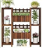 Shuang &Soporte de flores multicapa Soporte de flores de madera maciza Soporte de flores de múltiples capas Balcón de interior Cesta de flores al aire libre Cesta de flores (Color : D)