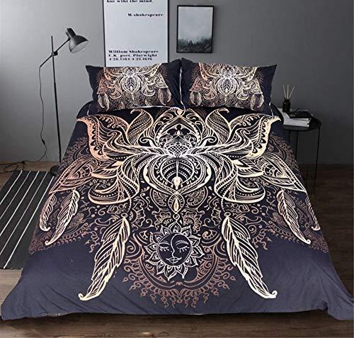 Fcao-Bettwäsche, 3D Bettbezug Mit Kissenbezug Bettwäsche Set King Size Galaxy Golden Plated Bohemian Bettwäsche 3D Bettbezug Set Bettwäsche (Size : EU Single 135x200cm) -