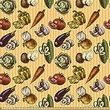 ABAKUHAUS Bunt Stoff als Meterware, Skizzenhaftes Gemüse,
