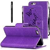 Slynmax Coque iPhone 6 Plus/6s Plus Wallet Housse PU Cuir [Papillons Fleurs] Motif...