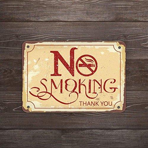 Fhdang Decor No Smoking Zeichen, No Smoking Schild, Warnung, Metall Schild, Zeichen für Cafe, 25,4x 35,6cm
