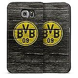 DeinDesign Samsung Galaxy S6 Leder Flip Case Tasche Hülle Borussia Dortmund BVB Holzoptik