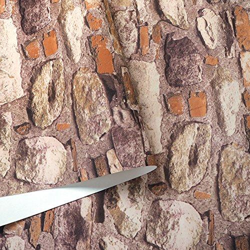 YUELA Retro personalisierte Steinfliesen Kultur Stein Wand Papier Textur Cafe Restaurant Bar Geschäfte von Backstein Tapete, 7122-02 geringer Qualität, Farbe, Tapeten (Stein Textur Backstein)