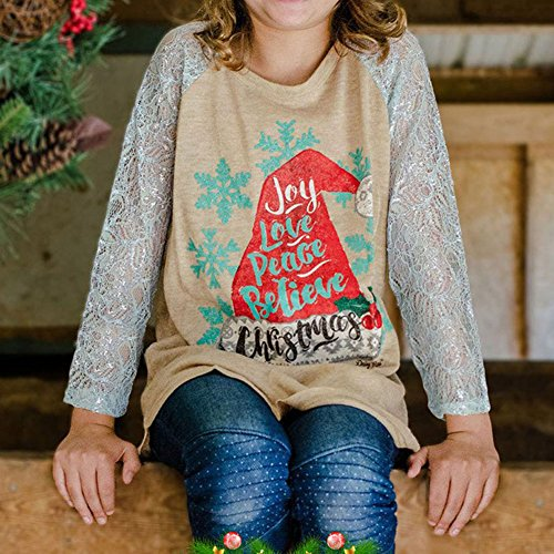 Camicia da famiglia di Natale Top Camicie Bambini Mamma Cappello di Natale e fiocchi di neve Stampa Maglietta Cotone e abiti di pizzo Abbigliamento per il Natale Highdas Kids