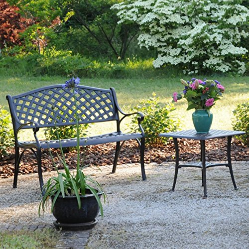 Lazy Susan – JASMINE Gartenbank und SANDRA Quadratischer Kaffeetisch – Gartenmöbel Set aus Metall, Antik Bronze (Grünes Kissen) - 3