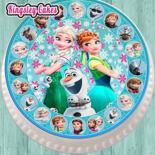 Grande décoration comestible pour glaçage de gâteau Forme ronde 19 cm Motif La Reine des neiges avec bordure ronde