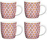 Kitchencraft marroquí diamantes porcelana fina barril taza con forma de (Juego de 4), Multi/colour, juego de 4