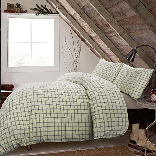 Nimsay Home Luxus gewebte Einfache Classic Plaid Cream & Navy Überprüfen, 100% Reiner Baumwolle Steppdecke Bezug Set, 100% Baumwolle, Cream with Navy Blue, King Size (Plaid Bettbezug Navy)