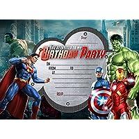 Invitaciones de fiesta de cumpleaños para niños. Diseño de superhéroes, héroes de Marvel, los Vengadores. 10 tarjetas con sobre