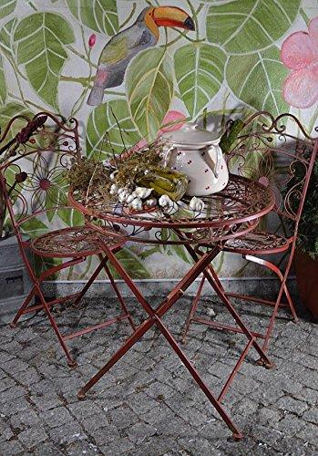Rustikale Gartenmöbel (Gartentisch Metalltisch Terassentisch Eisen Vintage Gartenmöbel Weinrot Antik)