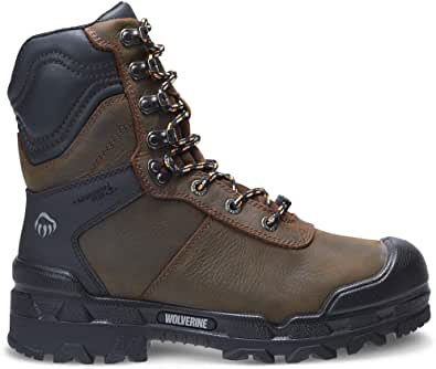 WOLVERINE Warrior Met-Guard 20 Inch Dark Coffee Boots in pelle