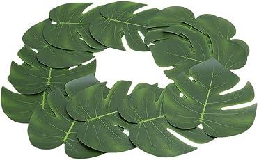 Hawaiian WHBLLC 12PCS Tropical Artificial Palm Leaves Hawaiian Luau Jungle Beach Party Decoration Supplies (20 * 18CM) (20 * 18cm)