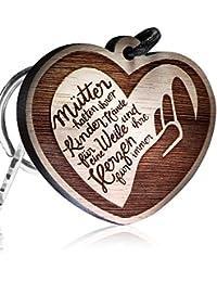 """Schlüsselanhänger Holz Herzform - """"Mütter halten ihrer Kinder Hände für eine Weile und ihre Herzen für immer!"""""""