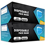 100 pks Disposable Face Masks   3-Layer Breathable face mask with strong Elastic Ear loops   UK SELLER