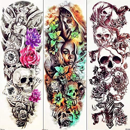 Temporäre Tattoos 3D Dämon Sexy Schädel Lange Temporäre Tätowierung Aufkleber Sommer Hexe Maske Tattoo Männer Frauen Tränen Geist Körper Bein Wasserdicht Tattoo Make-Up 17X48 cm - Dämon-schädel-tattoo