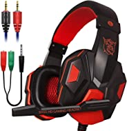 Xmowi 3.5 mm Wired Noise Isolation Gaming Headset and Audio Y Splitter Cable (1 Male to 2 Female) with Mic, Vol Control for