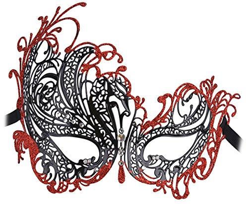 Venezianische Maske, Funpa Damen Sexy Maske Luxus Filigrane Strass Metall Halloween Venezianischen Cosplay Partei Maskerade Maske (Schwarz und Rot) (Schwarze Maskerade Und Rote Maske)