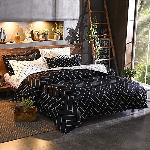LCLZ Hohe Qualität Schwarz Karierten Streifen minimalistischen Anzug Schlafzimmer Bettwäsche Polyester dreiteiligen Kissenbezug * 2 / Quilt Cover (Size : King)