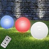 Deuba LED Solarkugel mit Farbwechsel + Fernbedienung Ø 30cm 4 lichtstarke LEDs LED Solarleuchte Gartenkugel Leuchtkugel
