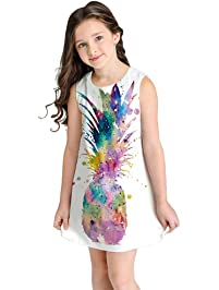 b1f3c28b1 K-Youth® Vestido para niña Fiesta Vestidos de Dibujos Animados de impresión  en 3D
