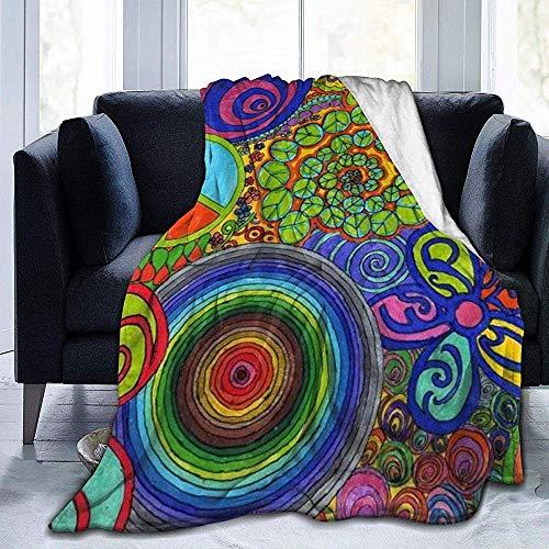 shang-shop Zeichnungen Cap Shaped Bell Printed Fleece Blanket Throw Leichte Super Soft Cosy Decken für Couch Bed Sofa Chair