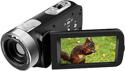Camcorder Kamera Full HD 1080p 24,0 MP Digitalkamera 16X Digitalzoom 270 Grad-Drehung für Selfie Pause Aufnahmefunktion