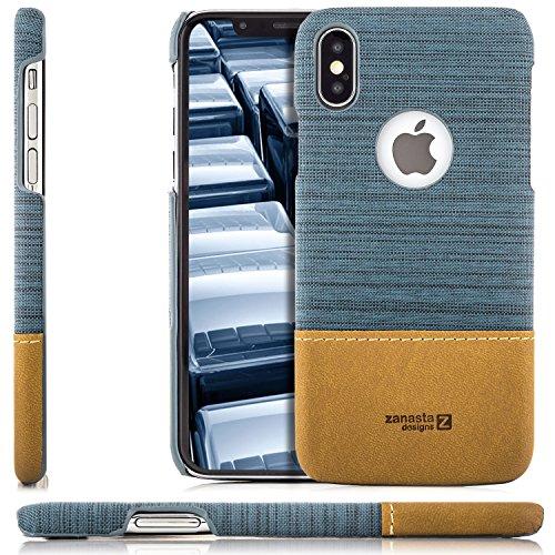 Braune Denim-stoff (zanasta iPhone X Hülle Case, Denim Cover Hochwertige Schutzhülle Schale Handyhülle Ultra-Dünn und Leicht (Jeans Stoff) Blaugrau)