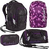 Satch by Ergobag Purple Hibiscus Pack 4er Set Schulrucksack + Sporttasche + Schlamperbox + Regenhaube Lila