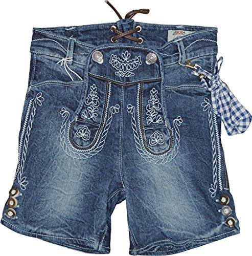Kinder Trachten Bermuda Jeans Cornelius Lederhose Elastic Denim, Farben:jeansblau;Größen:104
