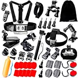 immagine prodotto Zookki 40 in 1 Accessori Kit per GoPro Hero 5 4 3+ 3 2 1 Black Silver and SJ4000 SJ5000 SJ6000, Action Camera Accessories per Lightdow/Xiaomi Yi/WiMiUS/DBPOWER