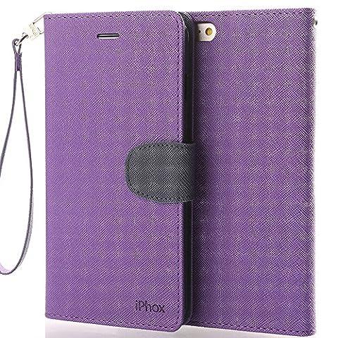 IPHOX Coque iPhone 7 Étui de Protection Porte-cartes en Cuir Portefeuille multi-Usage Housse Rabattable Fermeture Magnétique par Clapet -Bleu/violet
