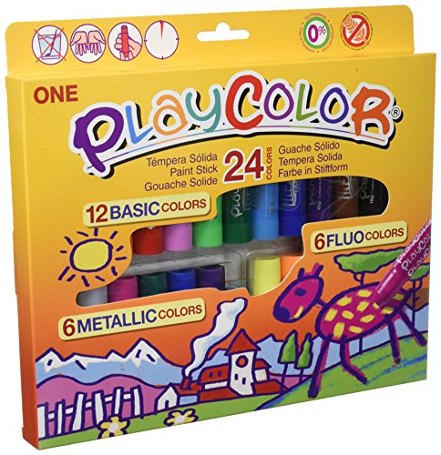 Playcolor 2041 - Estuche 24 colores témperas sólidas