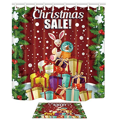 Aliyz Weihnachtsbaum Schnee Dekor Santa Spielzeug und Geschenke Band Bogen für Kinder Bad Vorhang 71X71in Duschvorhang Anzug 15.7x23.6in Flanell rutschfeste Boden Fußmatte Bad Teppiche