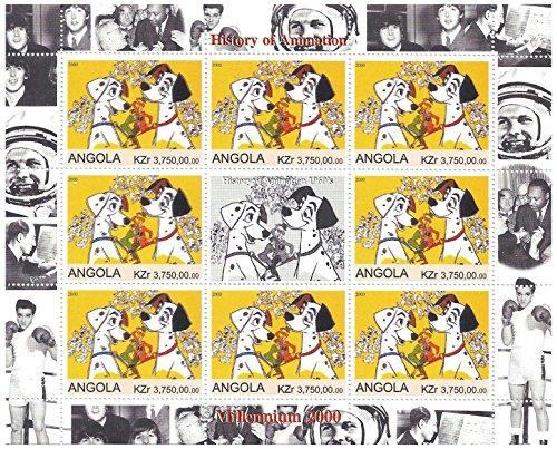 Geschichte der Animation, Disney 1960er Jahren Briefmarken für Sammler - 101 Dalmatiner - 9 Stempel / 2000 / Angola