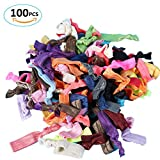 100 PCS Assorted Colours Elastic Hair Ties Lolota no Crease no Damage Ribbon Ponytail Holder Hair Bands Hair Accessories for Women Girls Teens and Kids