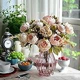 Bouquet de pivoines artificielles en soie Décoration pour fêtes de mariage Festival Noël Rose